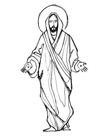 Jesus Christ with open hands vector hand drawn illustration