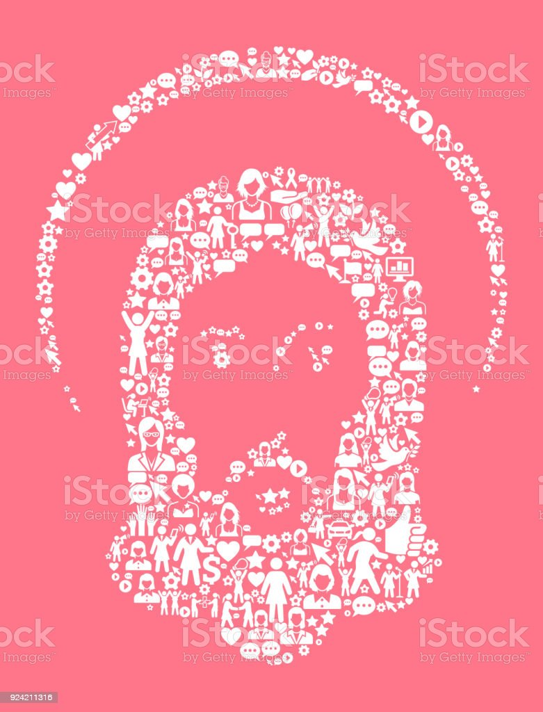 Jesus Christ Womens Rights And Girl Power Icon Pattern Stock Vector ...