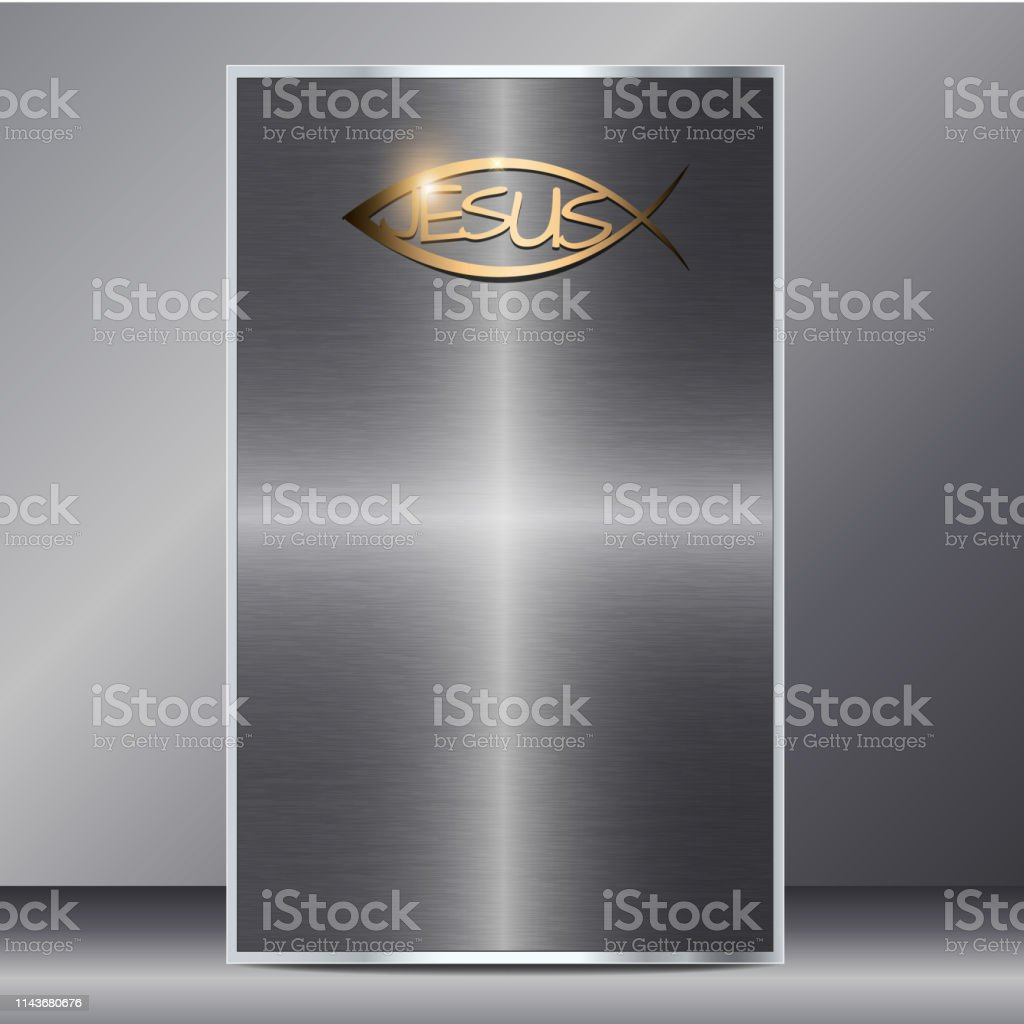 jesus cross background card with metallic look and golden jesus sign...