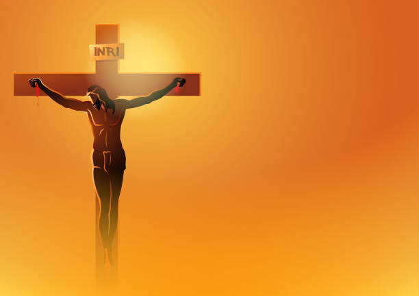 jesus dies on the cross - part of a series stock illustrations