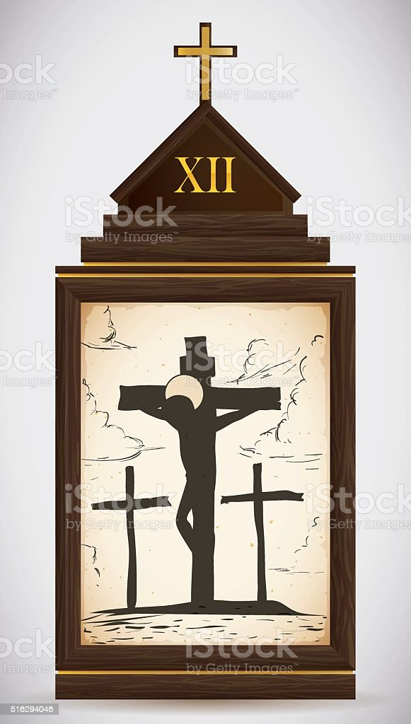 Jesus Dies on the Cross vector art illustration
