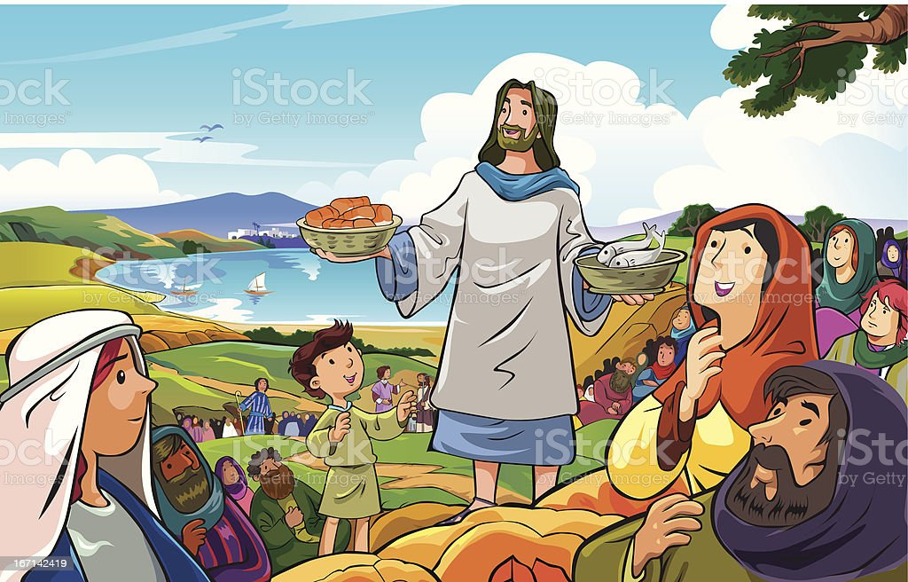 Jesus distributing loaves of bread and fish to the crowd vector art illustration