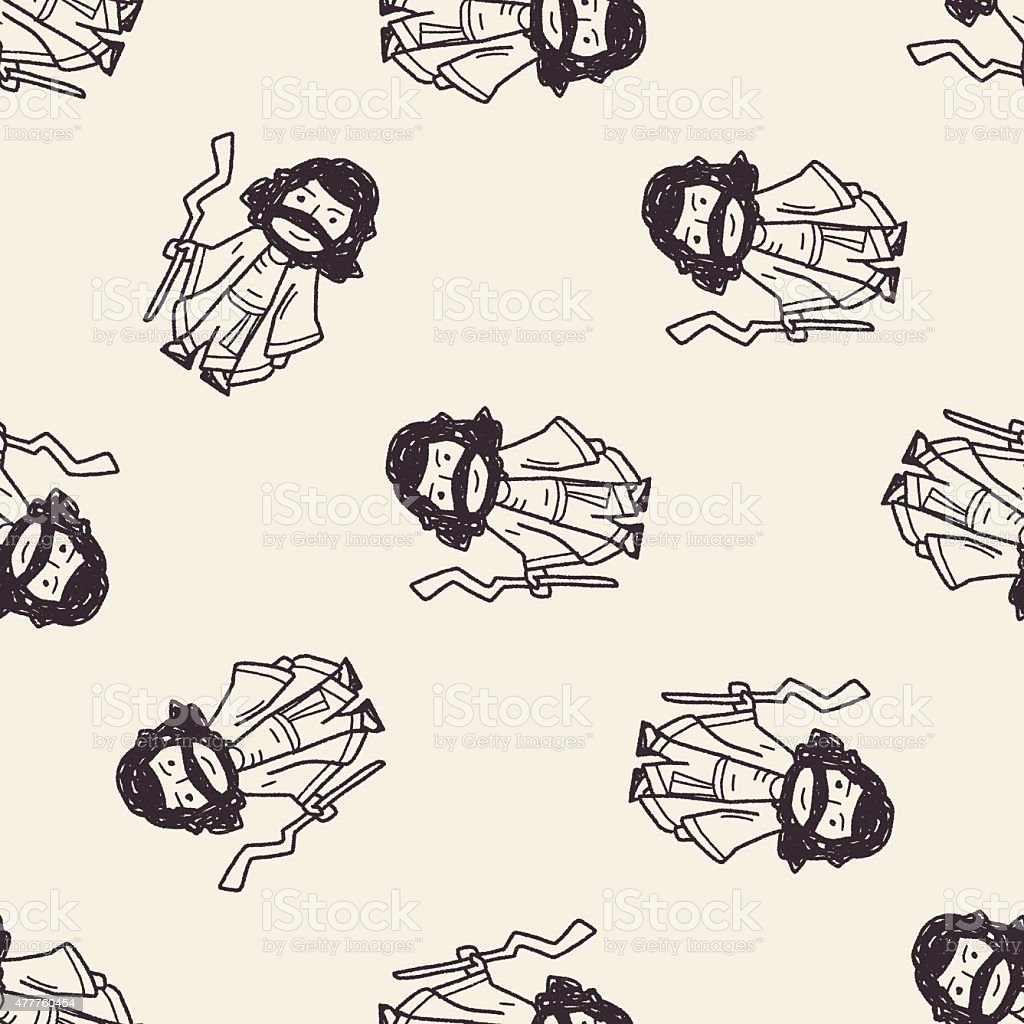 Jesus doodle seamless pattern background