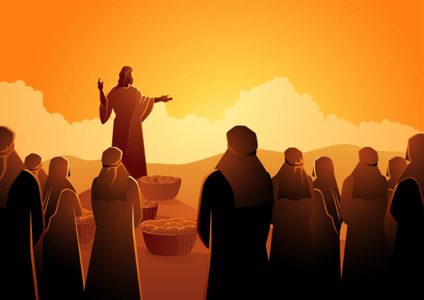 Jesus feeds the five thousand Biblical vector illustration series, Jesus feeds the five thousand or feeding the multitude name of person stock illustrations