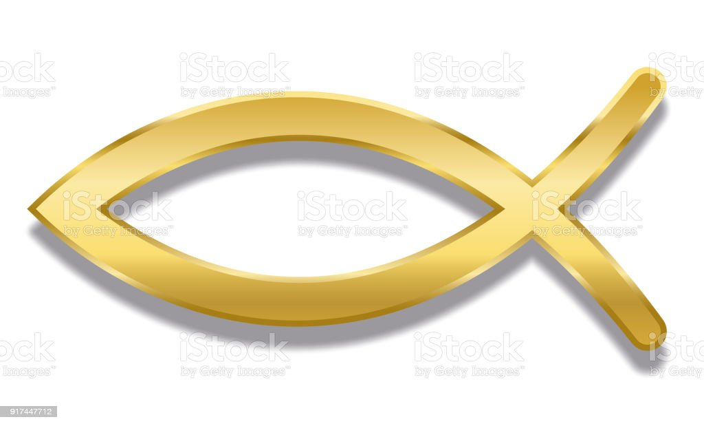 Jesus Fish Golden Christian Symbol Consisting Of Two Intersecting