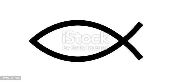 istock Jesus fish symbol. Christian symbol 1227631616