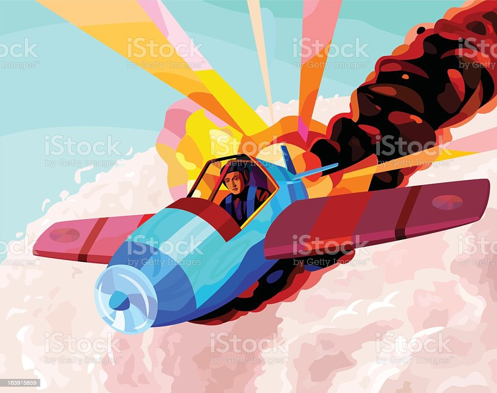 Jesus flying on an airplane royalty-free stock vector art