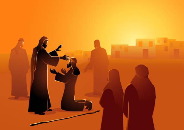 ilustrações de stock, clip art, desenhos animados e ícones de jesus heals the blind man - jesus cristo