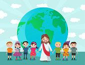 Jesus holding the little children across the globe.
