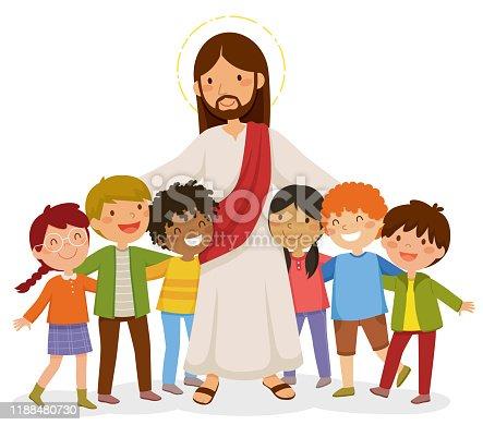 istock Jesus hugging kids 1188480730