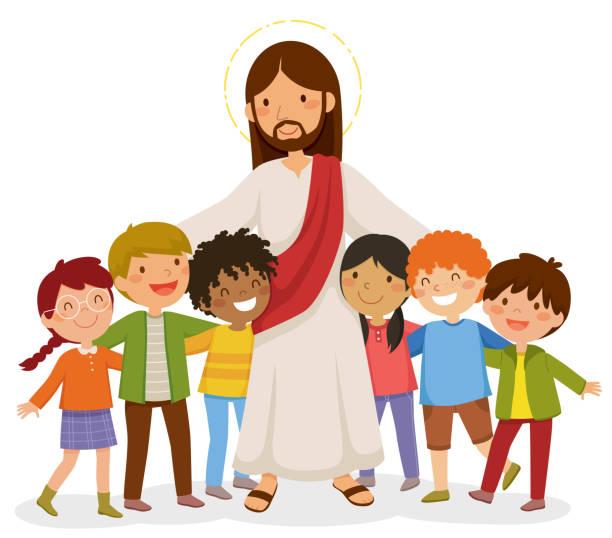 Jesus hugging kids vector art illustration