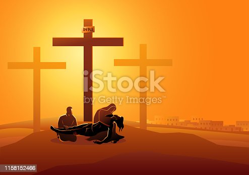 Biblical vector illustration series. Way of the Cross or Stations of the Cross, thirteenth station, Jesus is taken down from the cross.
