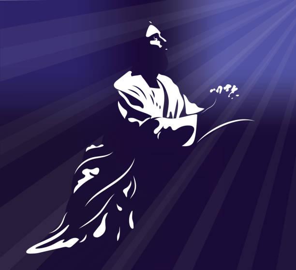 ilustrações de stock, clip art, desenhos animados e ícones de jesus kneeling hands together in prayer - jesus cristo
