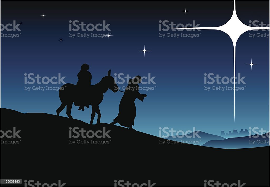 Jesus, mary and joseph on their way to Bethlehem royalty-free stock vector art