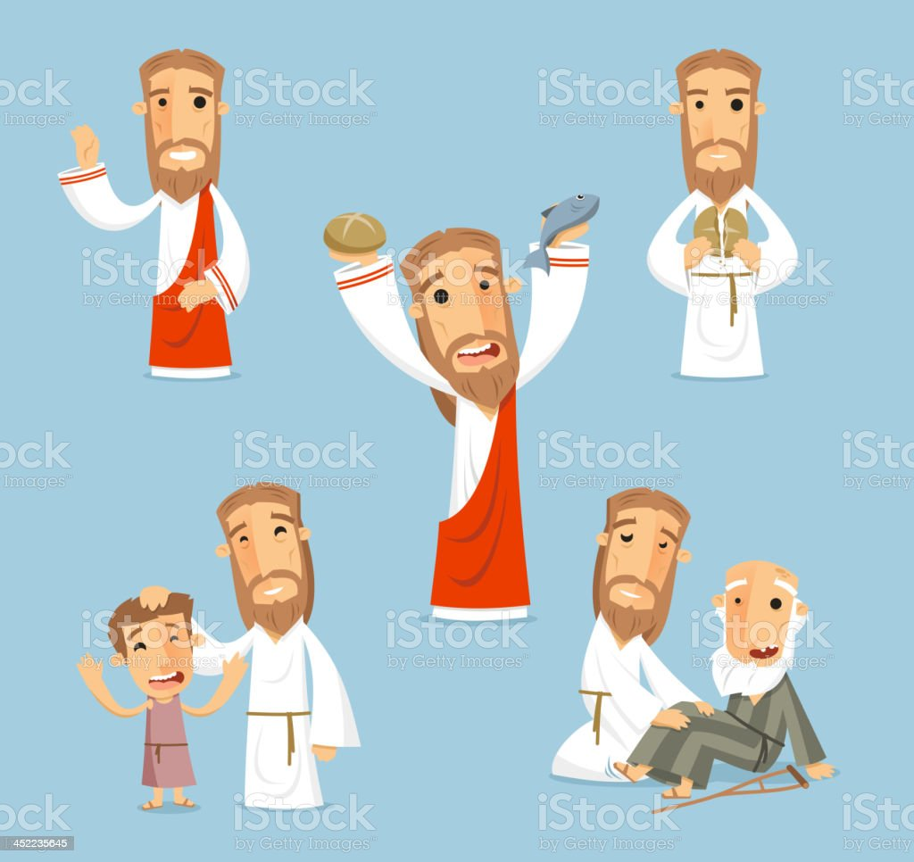 Jesus Miracles Set vector art illustration