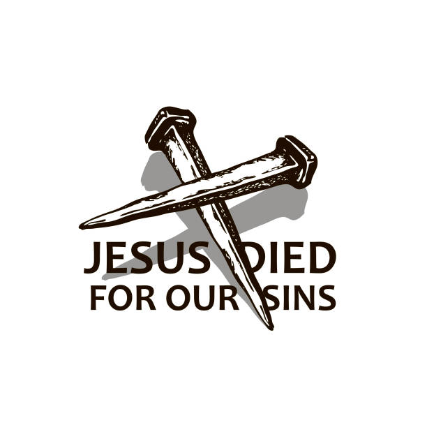 jesus nails icon black icon of jesus nails isolated on white background seven deadly sins stock illustrations