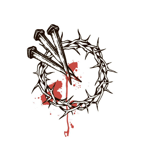 jesus nails with thorn crown image of jesus nails with thorn crown and blood isolated on white background seven deadly sins stock illustrations