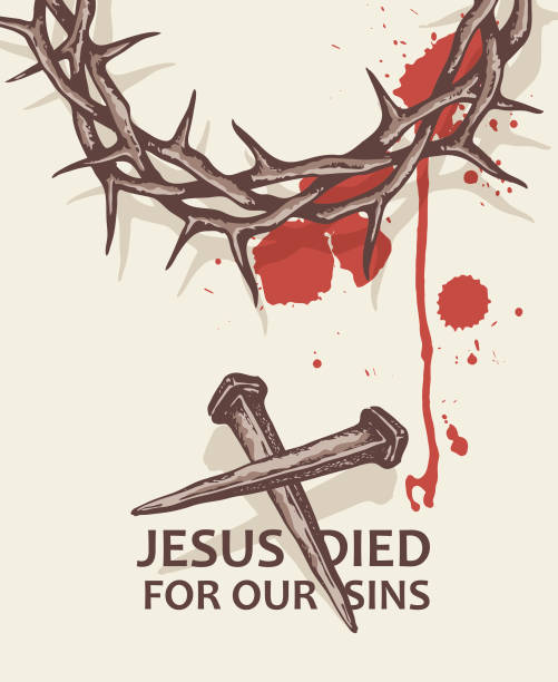 jesus nails with thorn crown illustration of jesus nails with thorn crown and blood seven deadly sins stock illustrations
