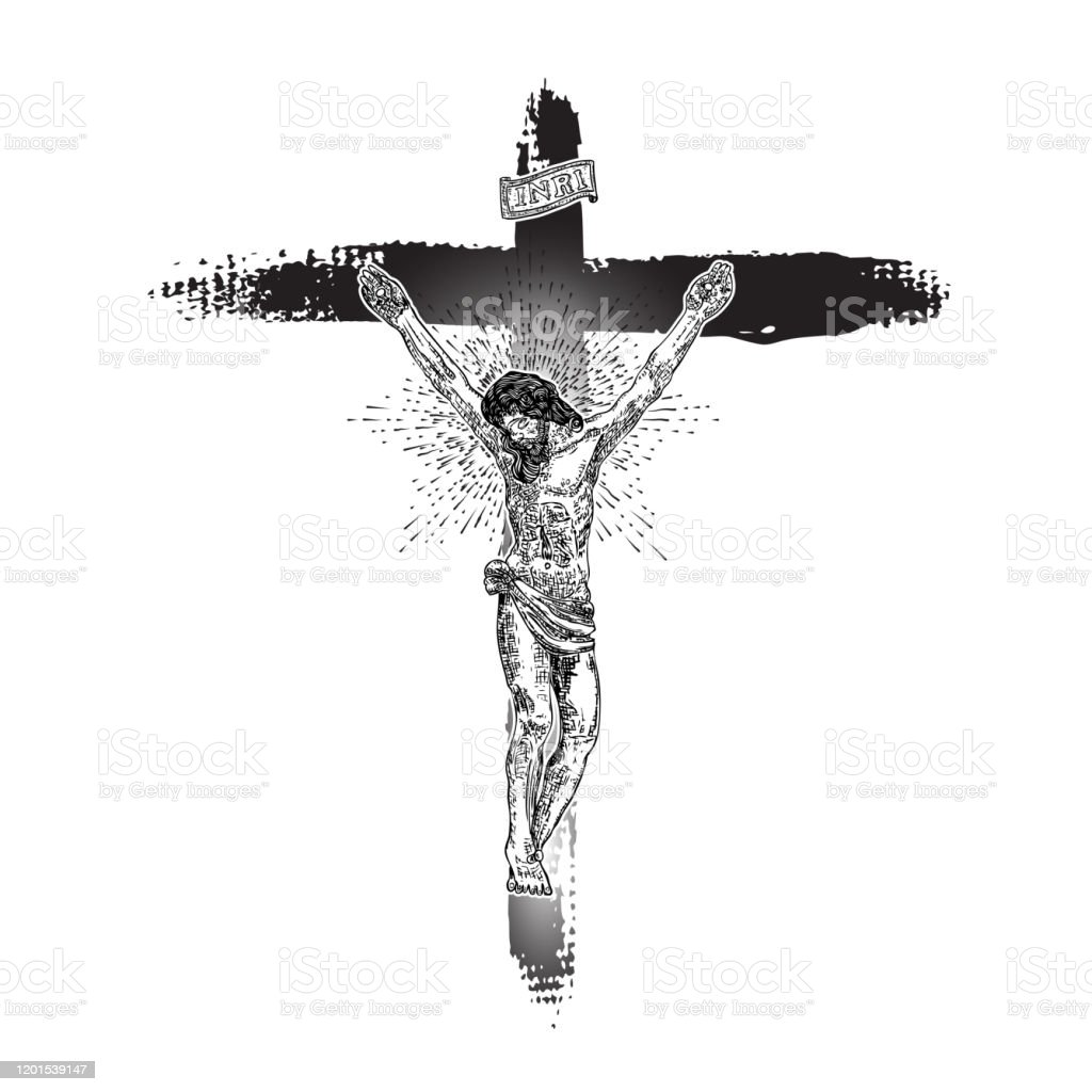 Jesus On Cross Painted With Ink Brush Son Of God Jesus Christ From Mount Golgotha Hand Drawn Art Sketch Vector Stock Illustration Download Image Now Istock