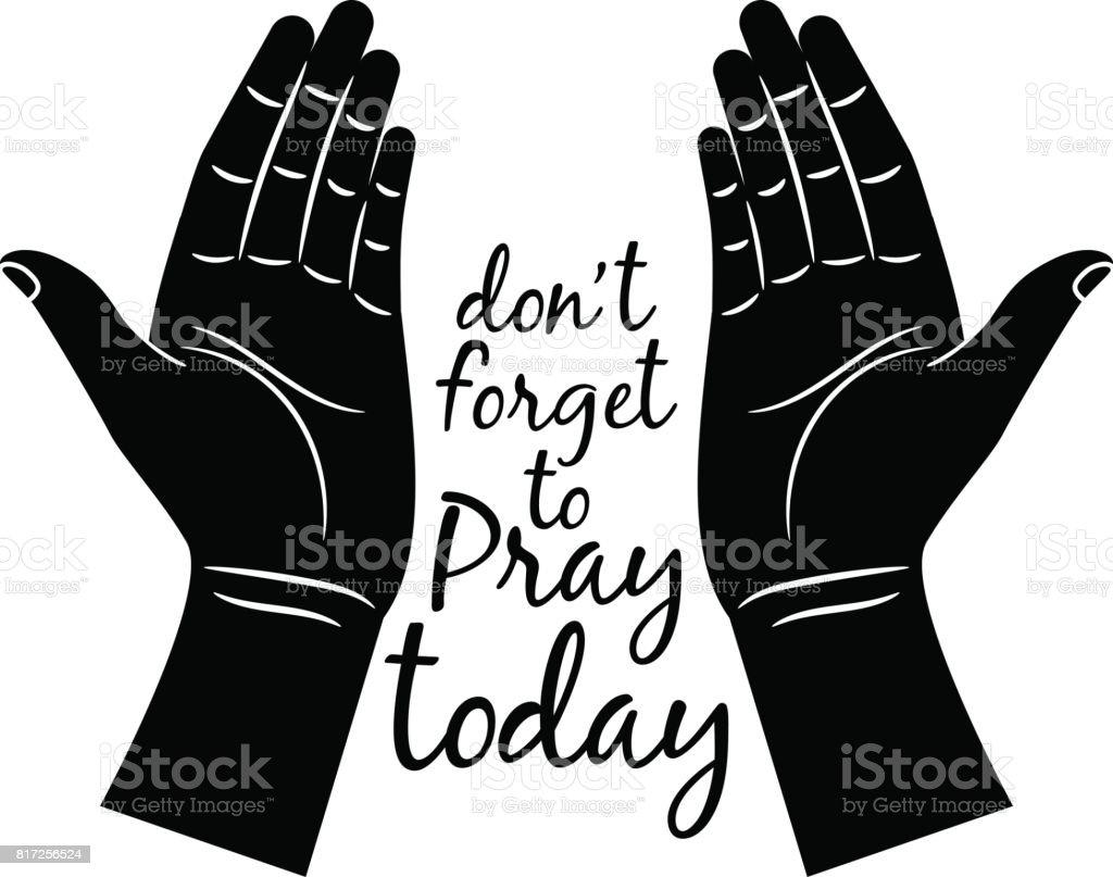 Jesus betenden Hände silhouette – Vektorgrafik