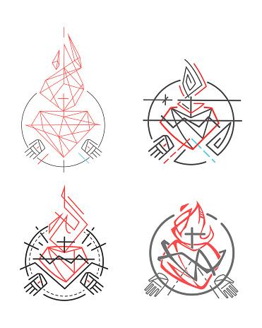 Jesus Sacred Heart vector illustrations