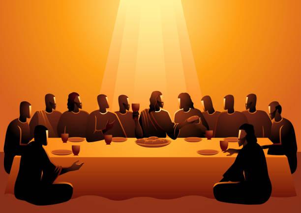 ilustraciones, imágenes clip art, dibujos animados e iconos de stock de jesús compartió con sus apóstoles - comunión