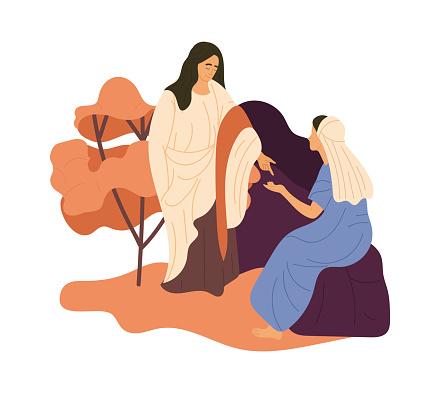Jesus speaking to a wonan.