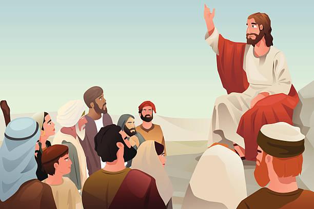 Jesus spreading his teaching to people vector art illustration