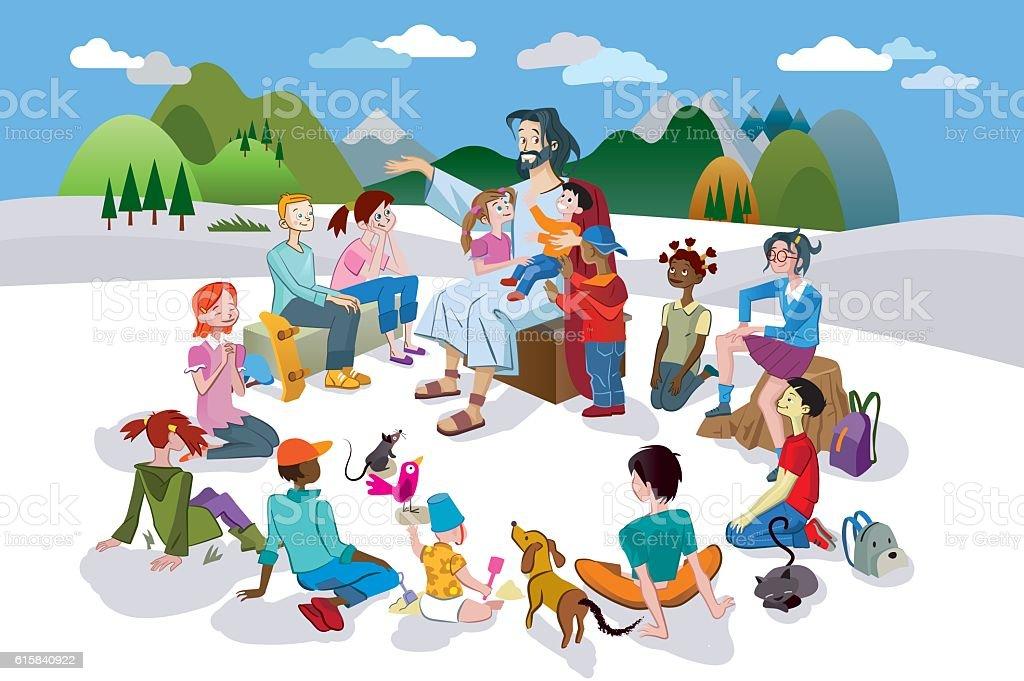 Jesus Talking to Children vector art illustration