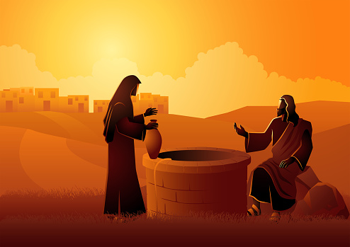 Jesus talking with Samaritan woman at the Jacob's well