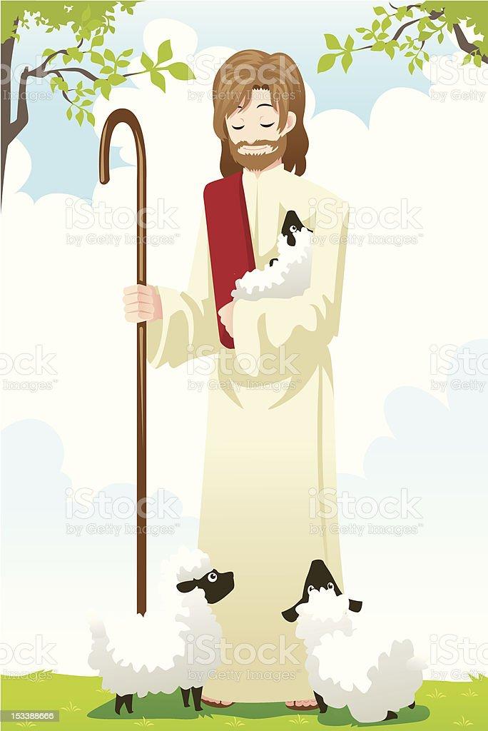 Jesus the shepherd vector art illustration