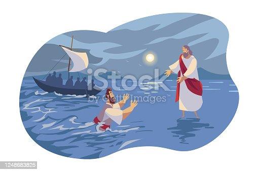istock Jesus walks on water, Bible concept 1248683825