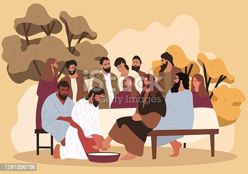 istock Jesus washes the feet of the apostles 1281056736