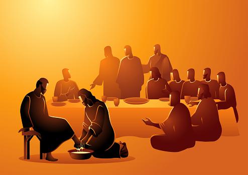 Biblical vector illustration series, Jesus washing apostles feet