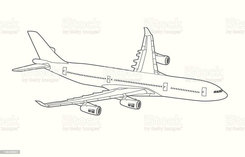 Jet Airplane Line Art royalty-free stock vector art