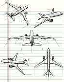 Jet airplane sketches on notebook paper. The artwork and paper are on separate labeled layers.