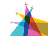 Colourful overlapping silhouettes of jet airplanes. EPS10 file, best in RGB.
