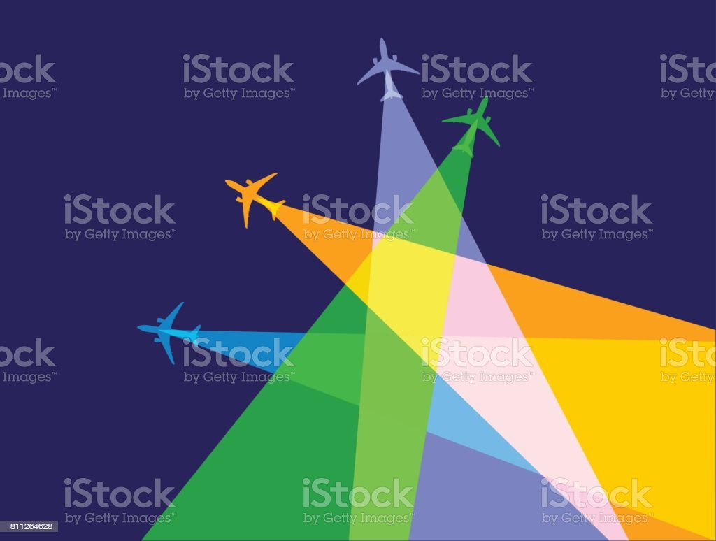Jet Airplanes vector art illustration
