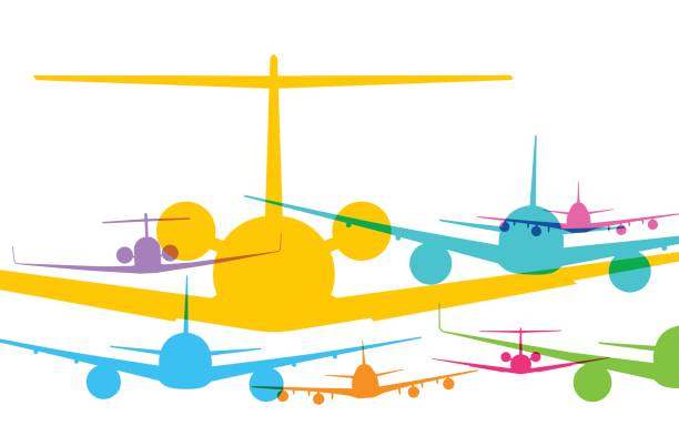 Jet Airplanes Colourful overlapping silhouettes of jet airplanes. aviation and environment summit stock illustrations