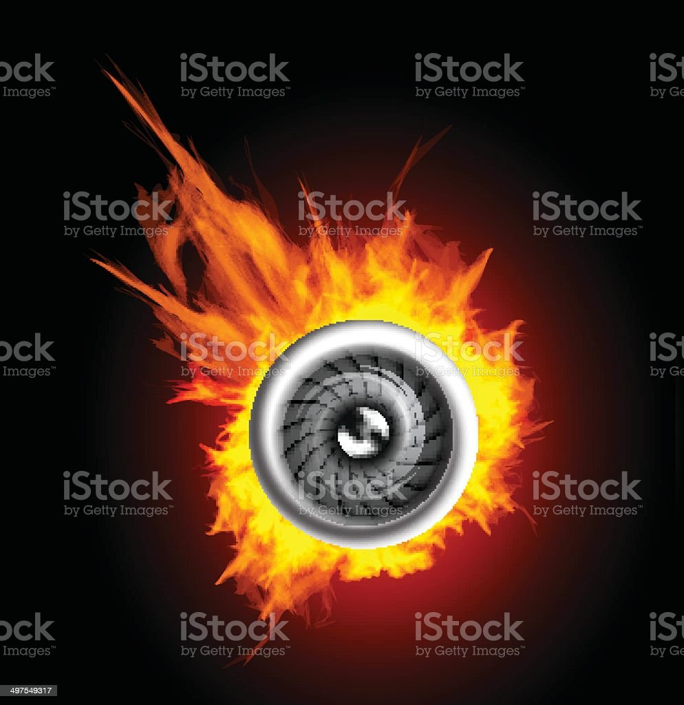 Jet engine in the fire vector art illustration