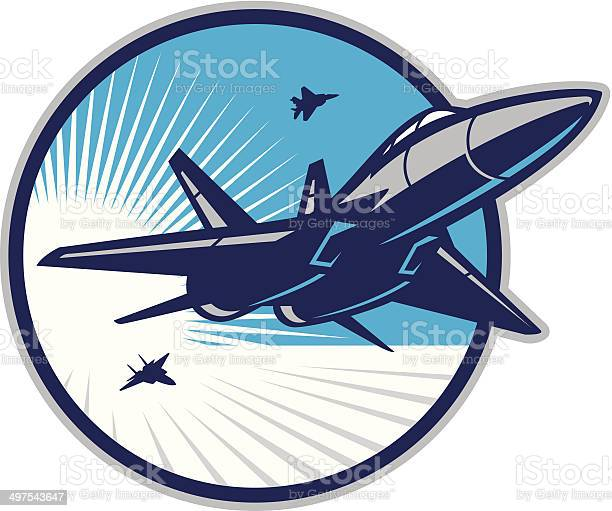 Stylized powerful illustration of a jet fighter flying in the sky. All colors are separated in layers. Easy to edit. Black and white version (EPS10,JPEG) included.