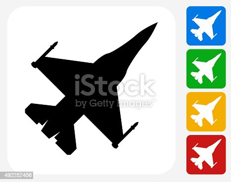 Jet Icon. This 100% royalty free vector illustration features the main icon pictured in black inside a white square. The alternative color options in blue, green, yellow and red are on the right of the icon and are arranged in a vertical column.
