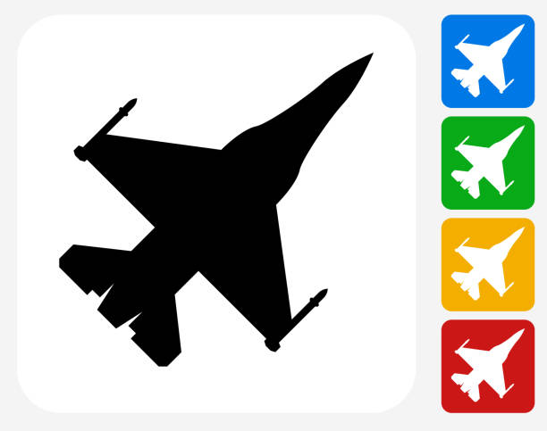 Jet Icon Flat Graphic Design Jet Icon. This 100% royalty free vector illustration features the main icon pictured in black inside a white square. The alternative color options in blue, green, yellow and red are on the right of the icon and are arranged in a vertical column. air force stock illustrations
