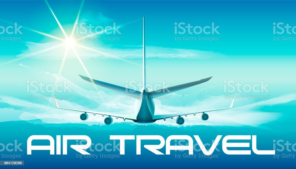 Jet in the sky. Vector illustration of jet in blue sky with air travel word in back view. royalty-free jet in the sky vector illustration of jet in blue sky with air travel word in back view stock vector art & more images of aerospace industry