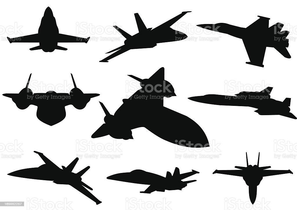 Jet planes silhouettes vector art illustration