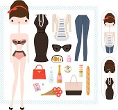 Vector illustration of a jet set girl ready for an adventure in Paris. Dress her in interchangeable clothing and add accessories to complete her look. Fill her shopping tote with French goodies from the market. Accessories include a handbag, makeup, perfume, sunglasses, box of macarons, baguette, pink champagne, and more!