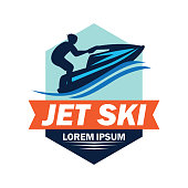 jet ski insignia with text space for your slogan / tag line, vector illustration