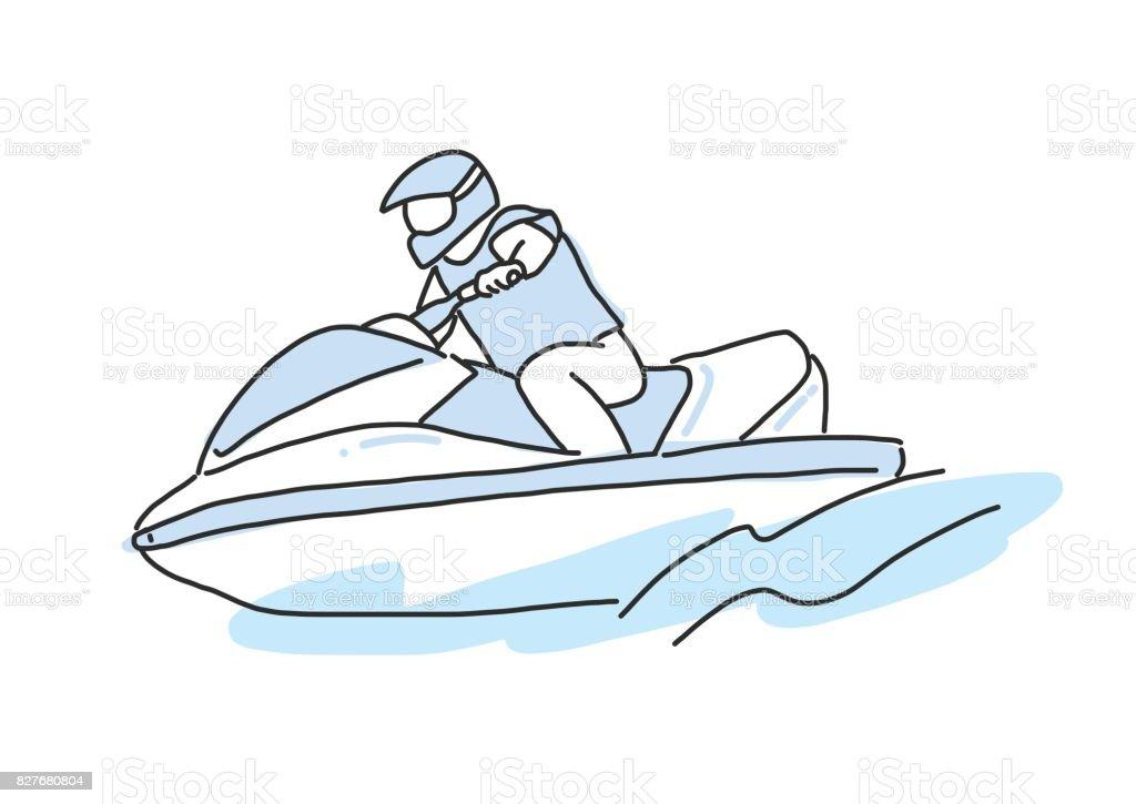 Jetski dessin au trait dessin s la main illustration vectorielle vecteurs libres de droits et - Jet ski dessin ...