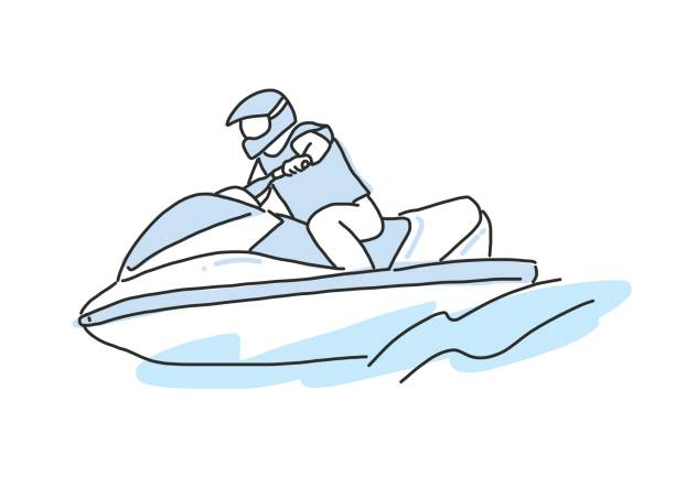 Line Art Jet : Royalty free boat wake clip art vector images
