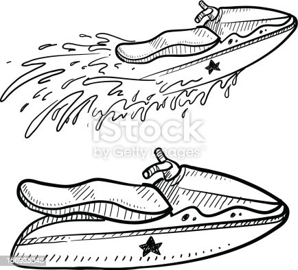 Jet Ski Sketch Stock Vector Art & More Images of Aquatic